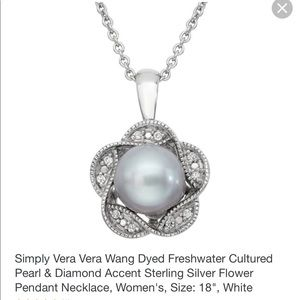 Simply Vera Wang Pearl & Diamond Silver Necklace